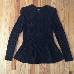 Tops - Black Lace Peplum Top. Sheer.